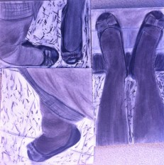 """Shoes: 17.5"""" x 17.5"""", charcoal on paper"""