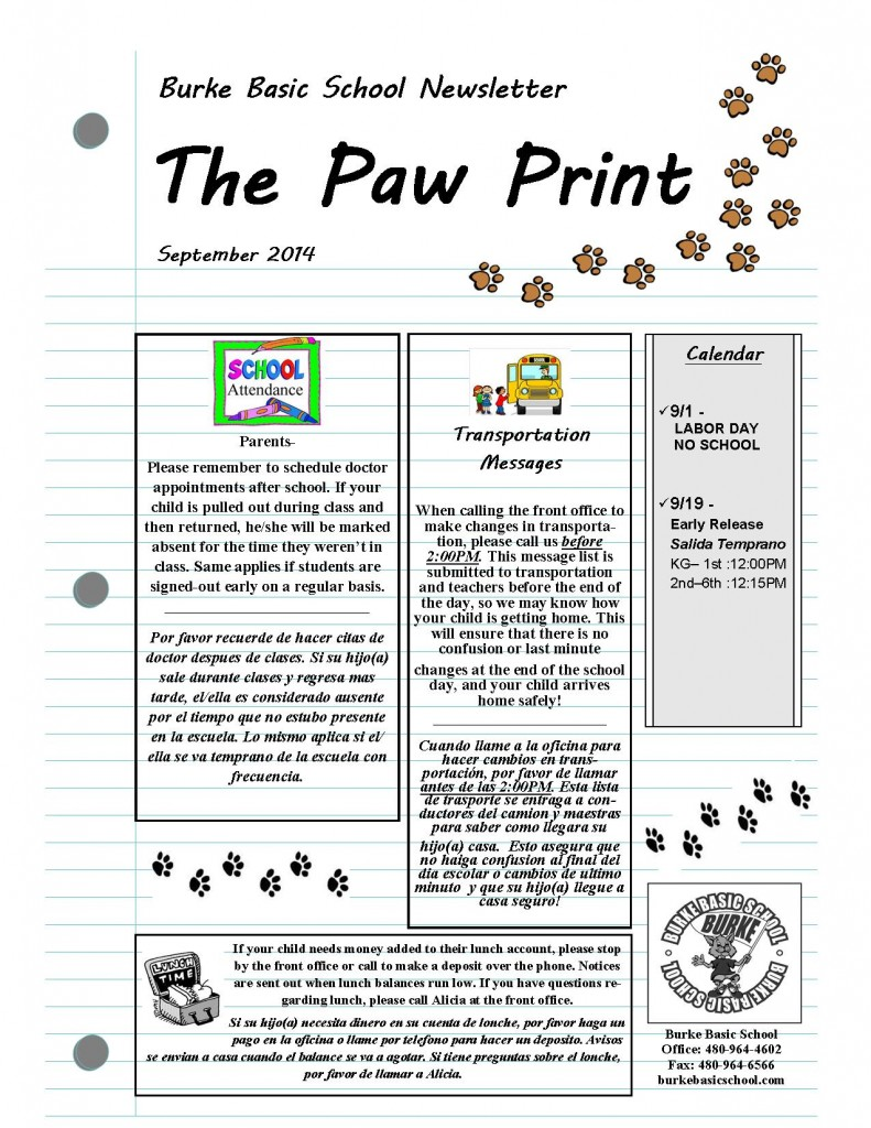 September 2014 Paw Print Newsletter