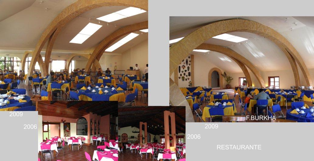 Remodelación del restaurante (nave principal); meta - luminosidad y agrandar el espacio liberando la zona central de sus pilares.