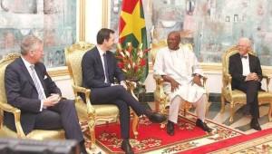 La délégation belge lors de son tête-à-tête avec le président Kaboré
