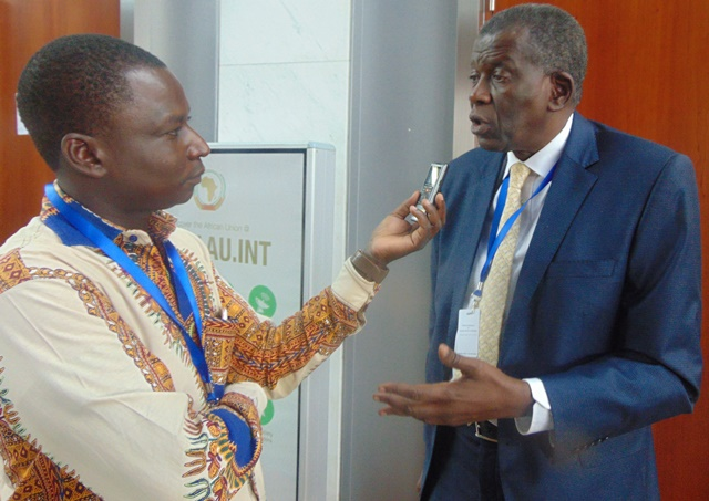 Cheick Oumar Sissoko, lors de l'entretien, le 29 janvier 2016, au siège de l'Union africaine,  à Addis Abeba