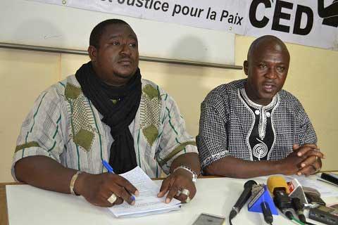 Les responsables du CED, Abraham Badolo (à Gauche) et Pascal Zaida, ce mercredi 4 mai, ont insisté sur la nécessité d'une justice indépendante dans le pays