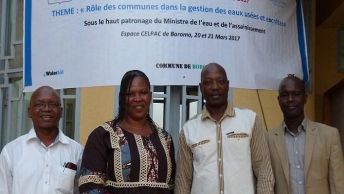 De gauche à droite, Yongo Nignan Chef de missions opérationnelles, Ouo Bibata Bamouni/Traoré, haut-commissaire des Balés, Zakari Bouraima, directeur Pays Eau Vive Burkina et Adama Yao, maire de Boromo