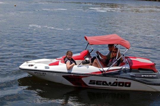 On a speedboat, Cancun