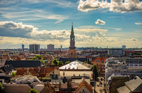 View from Round Tower with St Peter Church, Copenhagen