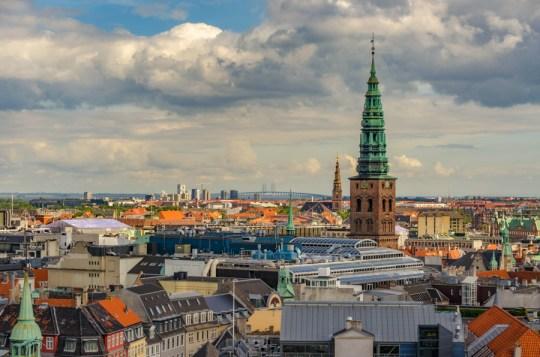 View from Round Tower with St Nicholas Church, Copenhagen