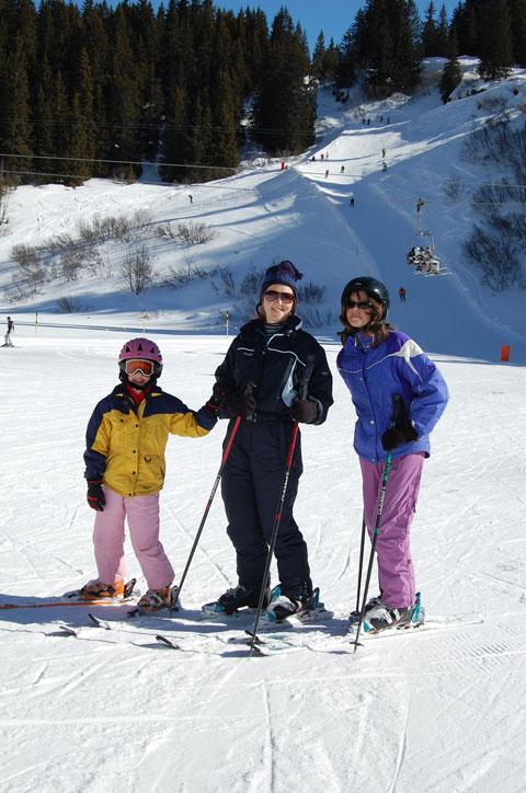 Three skiers