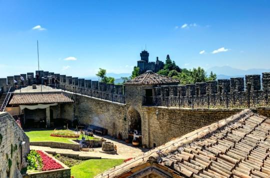 Guaita Tower and view towards Cesta Tower, San Marino