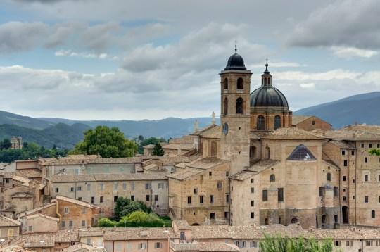 View of Urbino from Albornoz Castle park, Italy