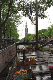 Westerkerk seen from the Houseboat Museum, Amsterdam