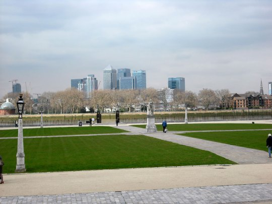 View to Canary Wharf from the Old Royal Naval College, Greenwich, London