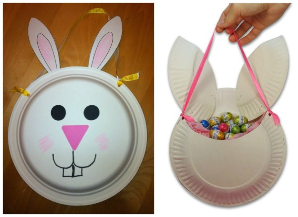 Paper Plate Bunny Basket Quick And Easy Preschool Craft