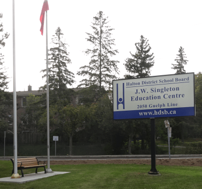HDSB sign and bench