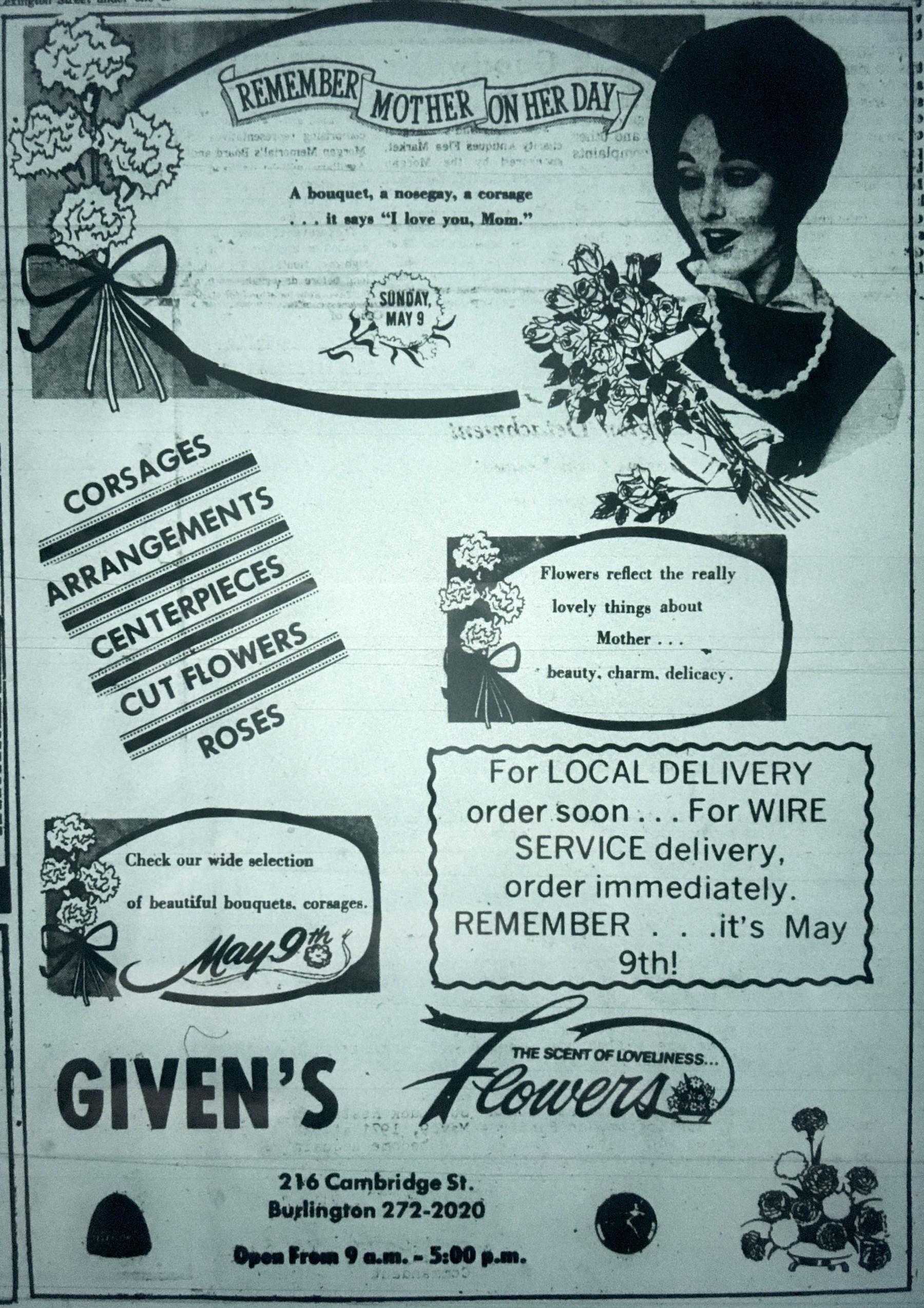 Given's florist, Burlington MA