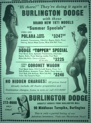 Burlington Dodge ad, Burlington, MA