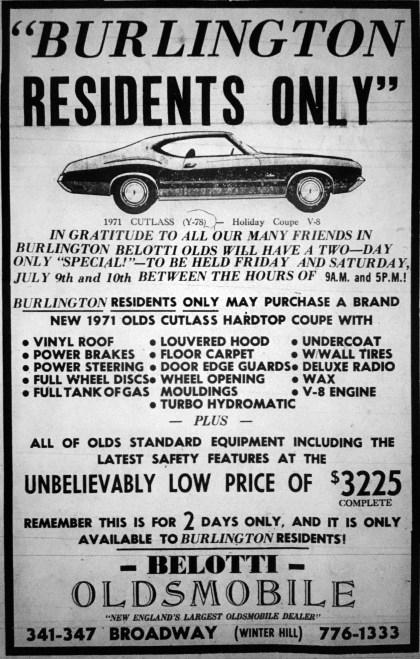 Vintage Oldsmobile ad, Burlington, MA