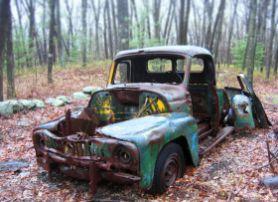 1950s International Pickup in woods behind Chandler Rd, Burlington MA
