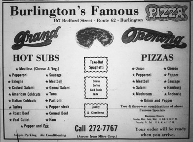 Burlington's Famous Pizza, early 1970s