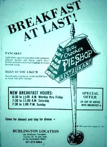 Betty Crocker Pie Shop, Burlington MA