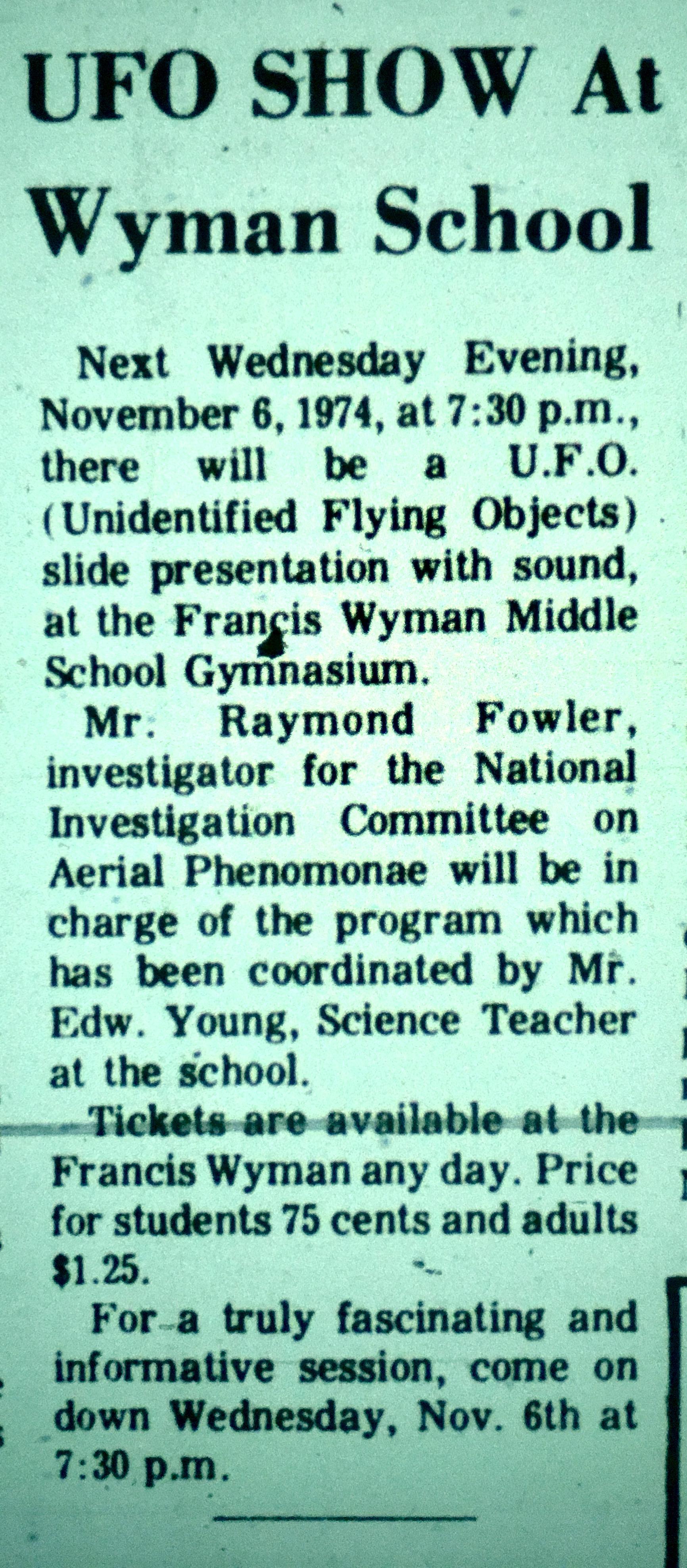 Francis Wyman guest speaker, 1974