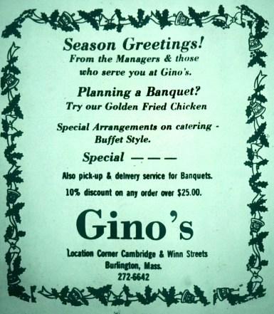 Gino's restaurant, Burlington MA