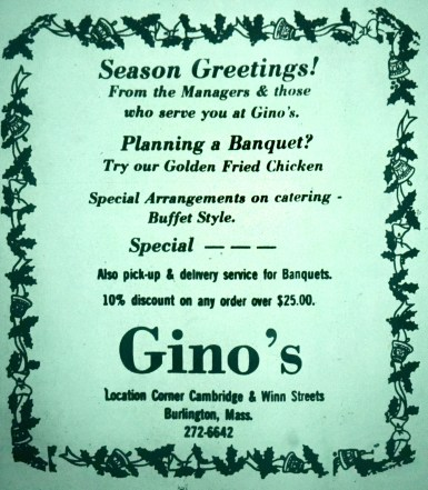 Gino's restaurant, Burlington MA