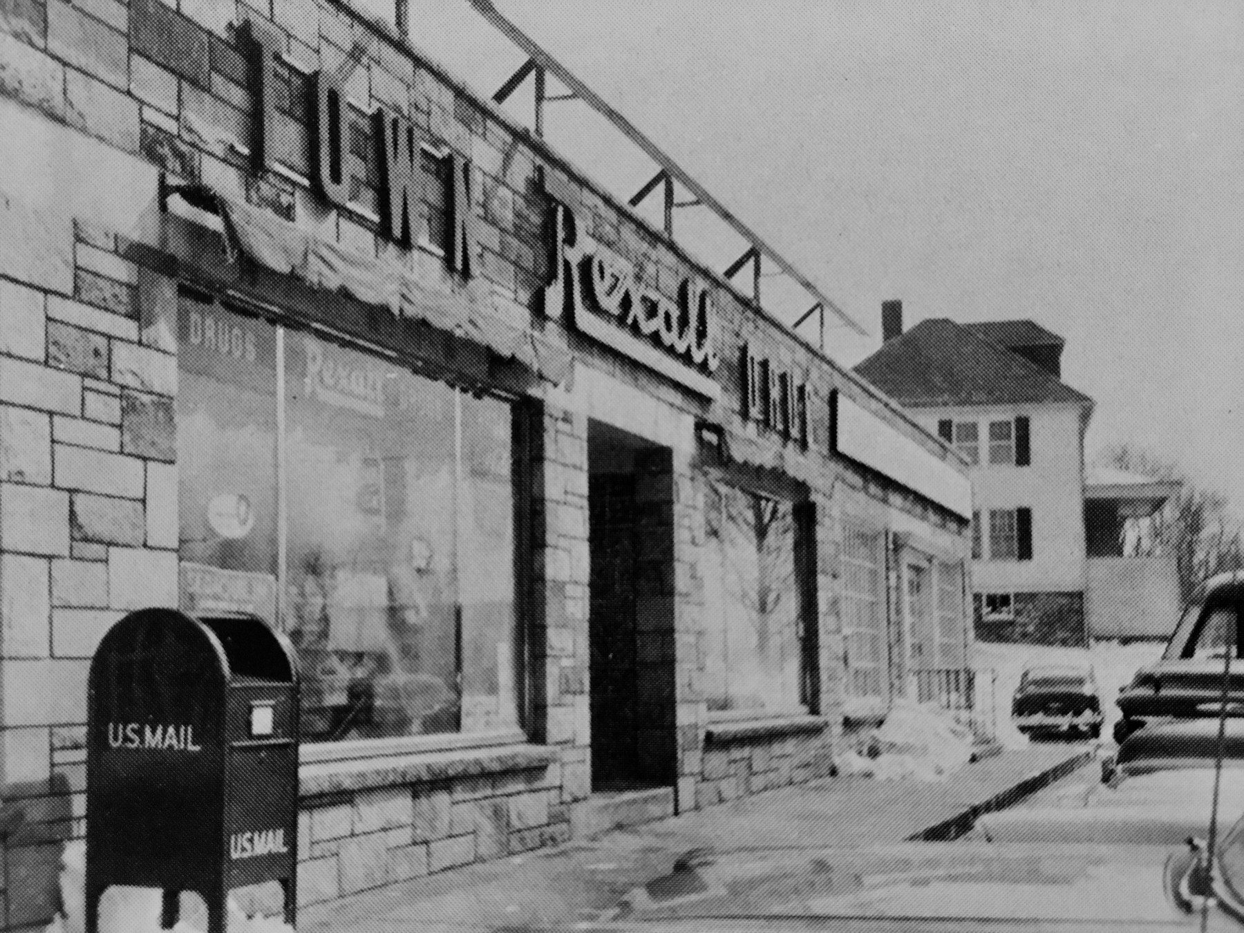 Rexall Burlington MA, with Charles Dearborn's house in the background.