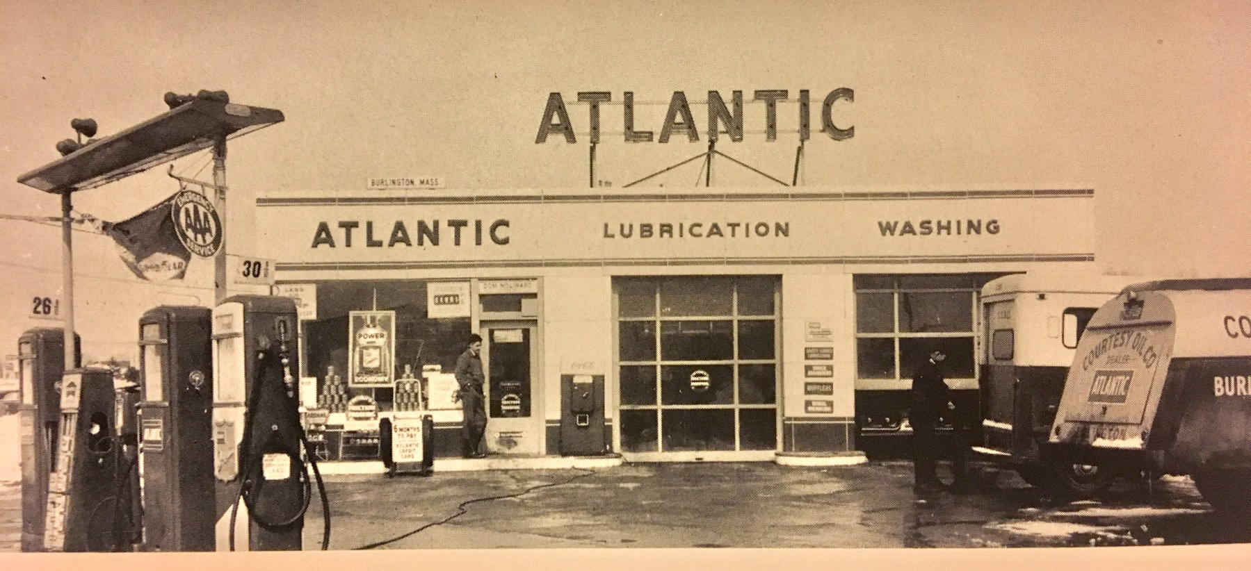Atlantic gas station, Burlington, MA 1950s
