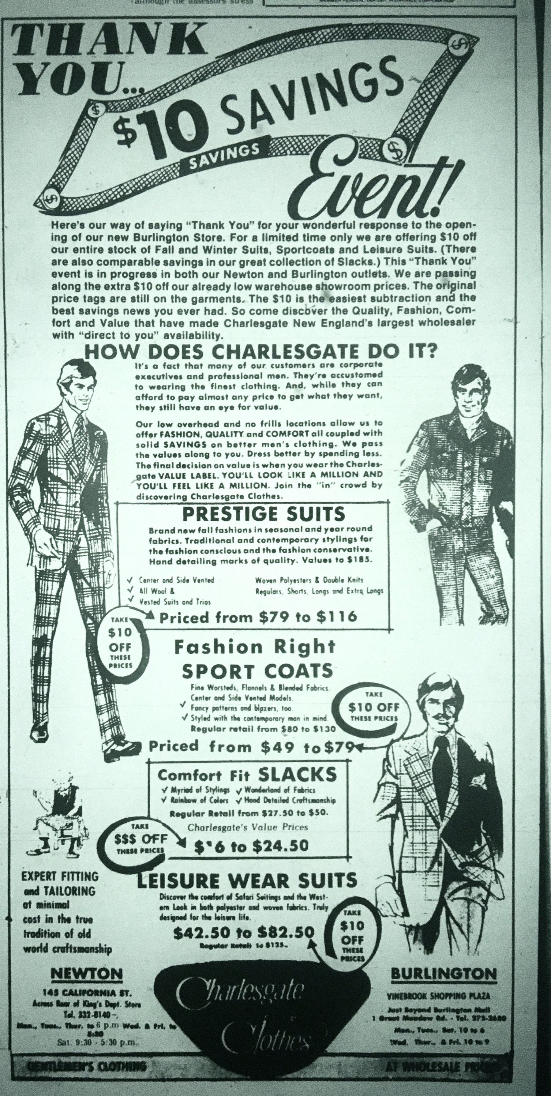 Charlesgate Clothes, Burlington MA