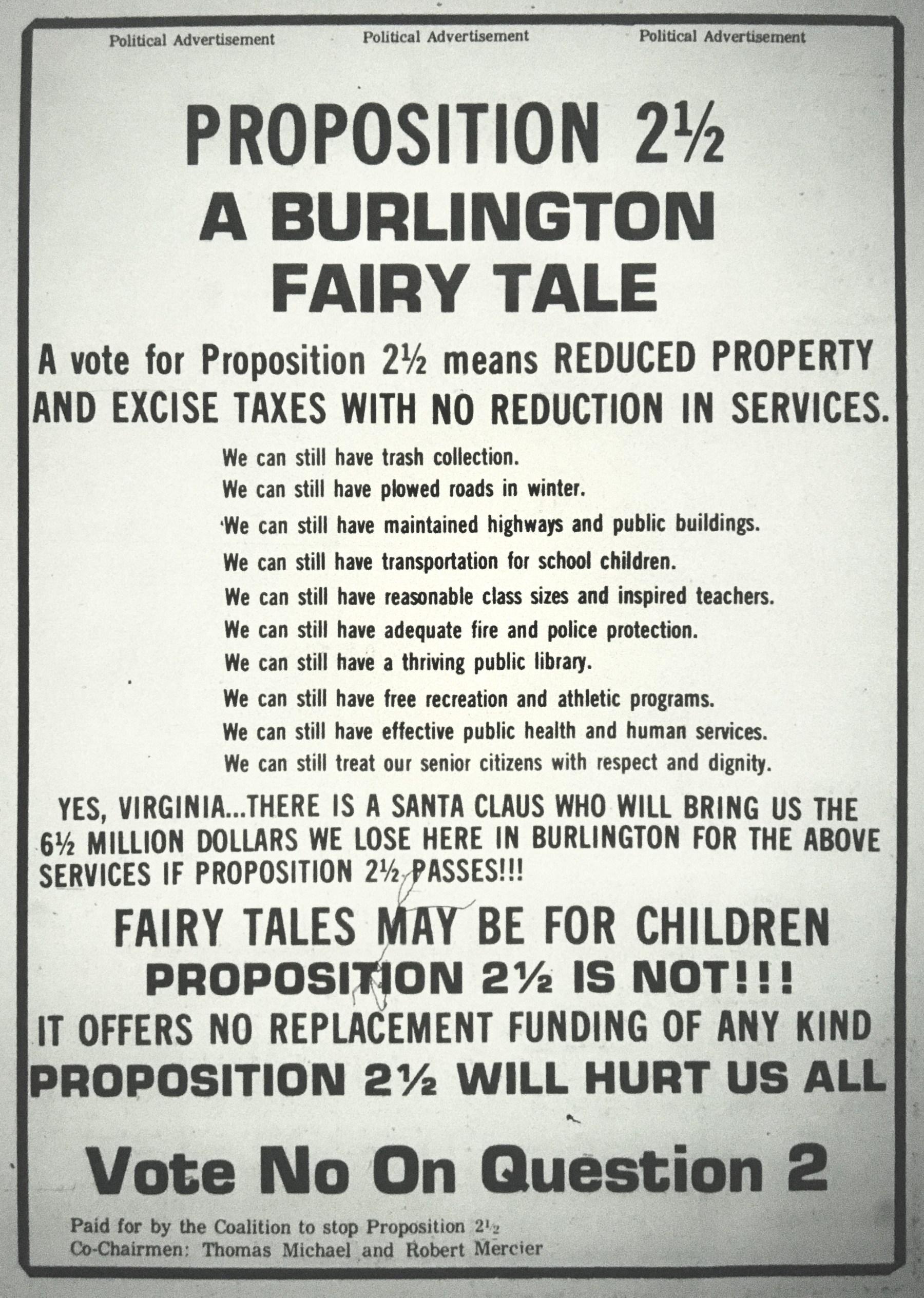 Proposition 2 1/2 advertisement, Burlington MA