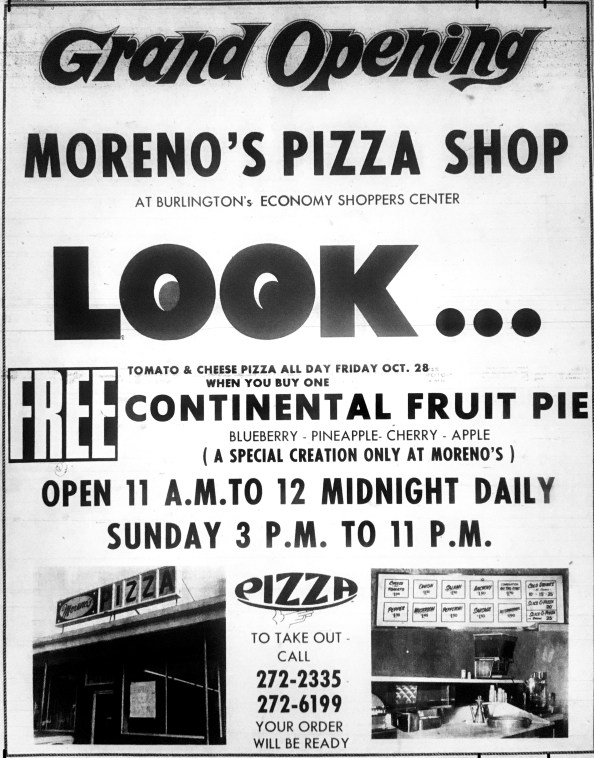 Grand opening Moreno's Pizza, Burlington MA