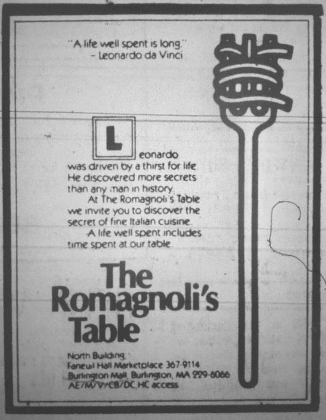 Romagnoli's Table, Burlington MA