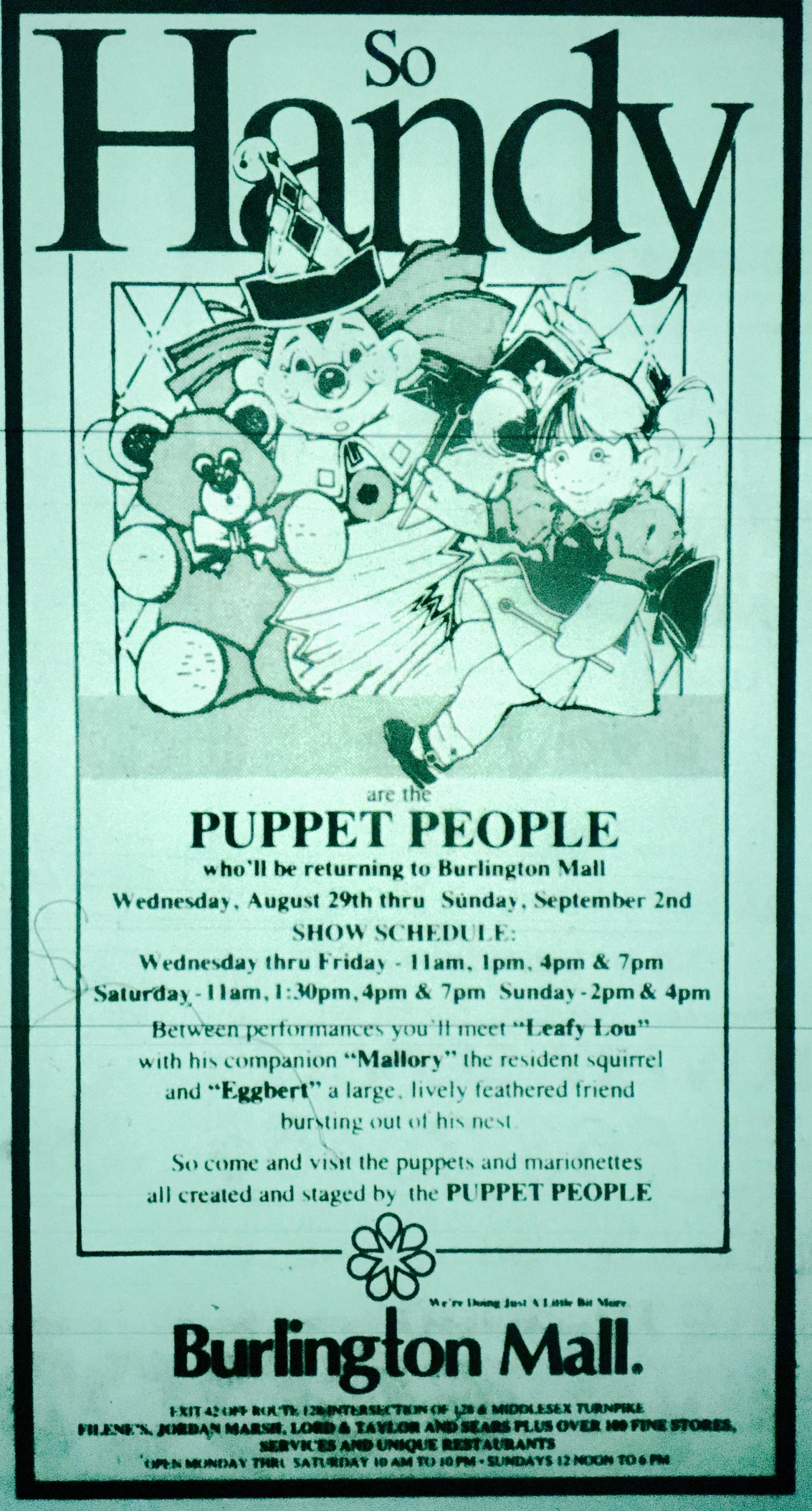 So Handy puppet shop, Burlington MA