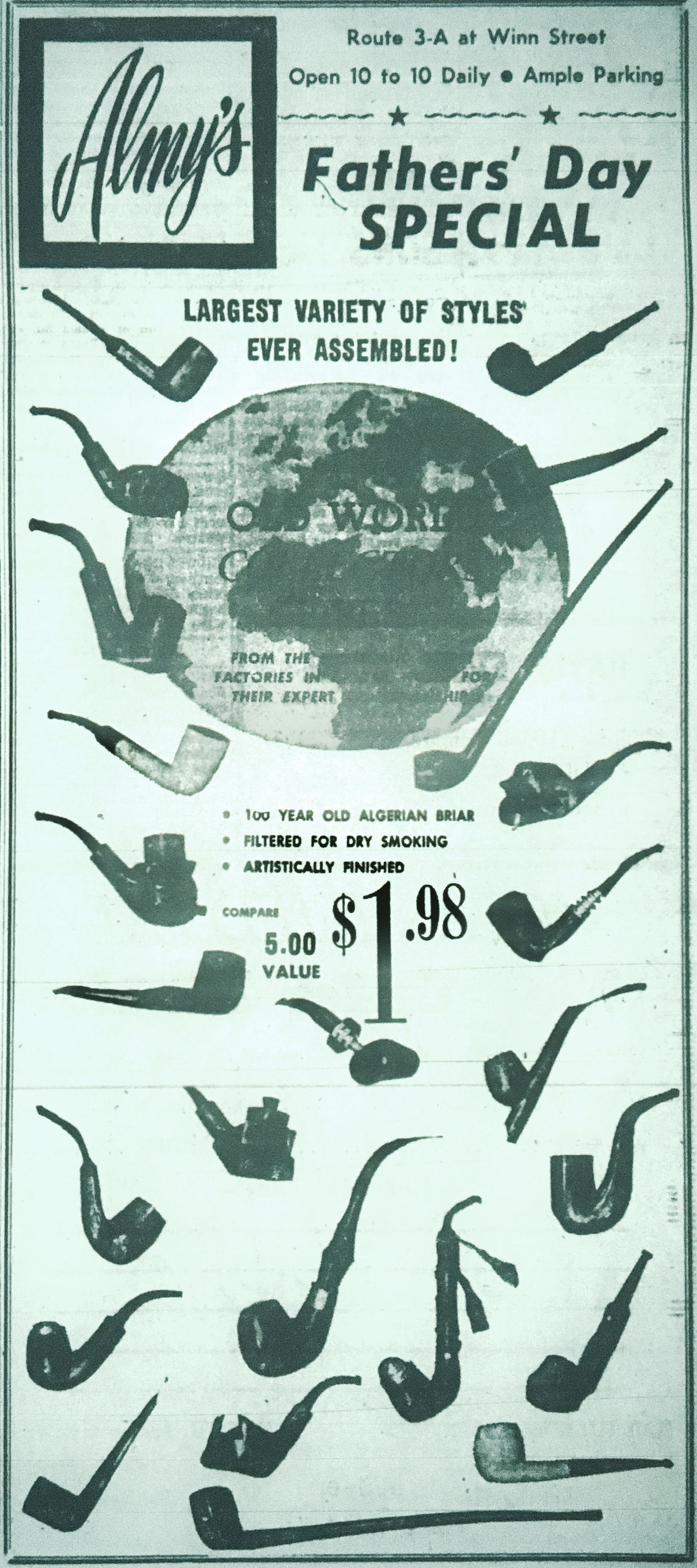 Almy's pipe ad