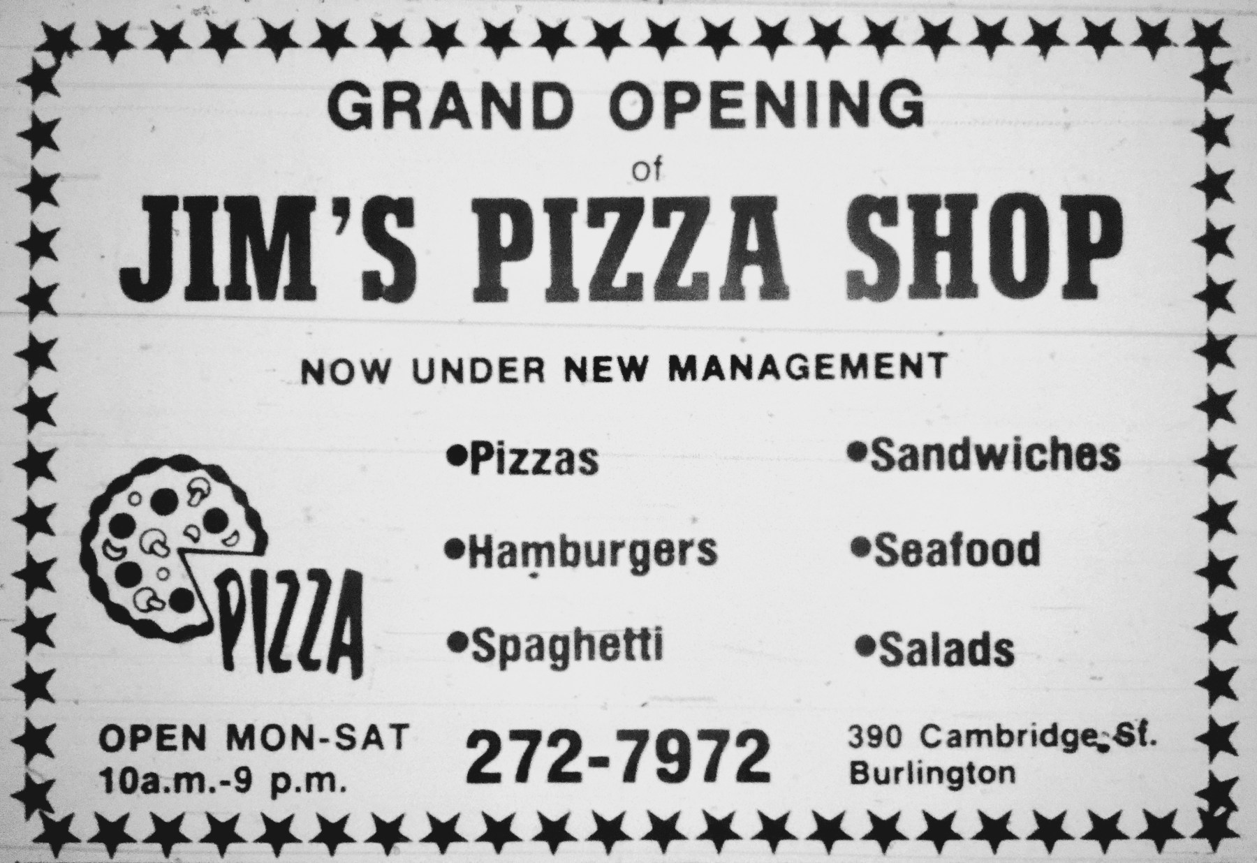Jim's Pizza Shop, Burlington MA