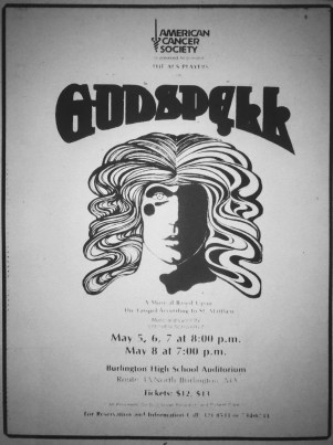 Godspell, playing at Burlington High School