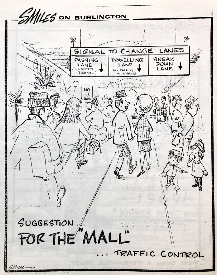Mall traffic cartoon by Steve Miles