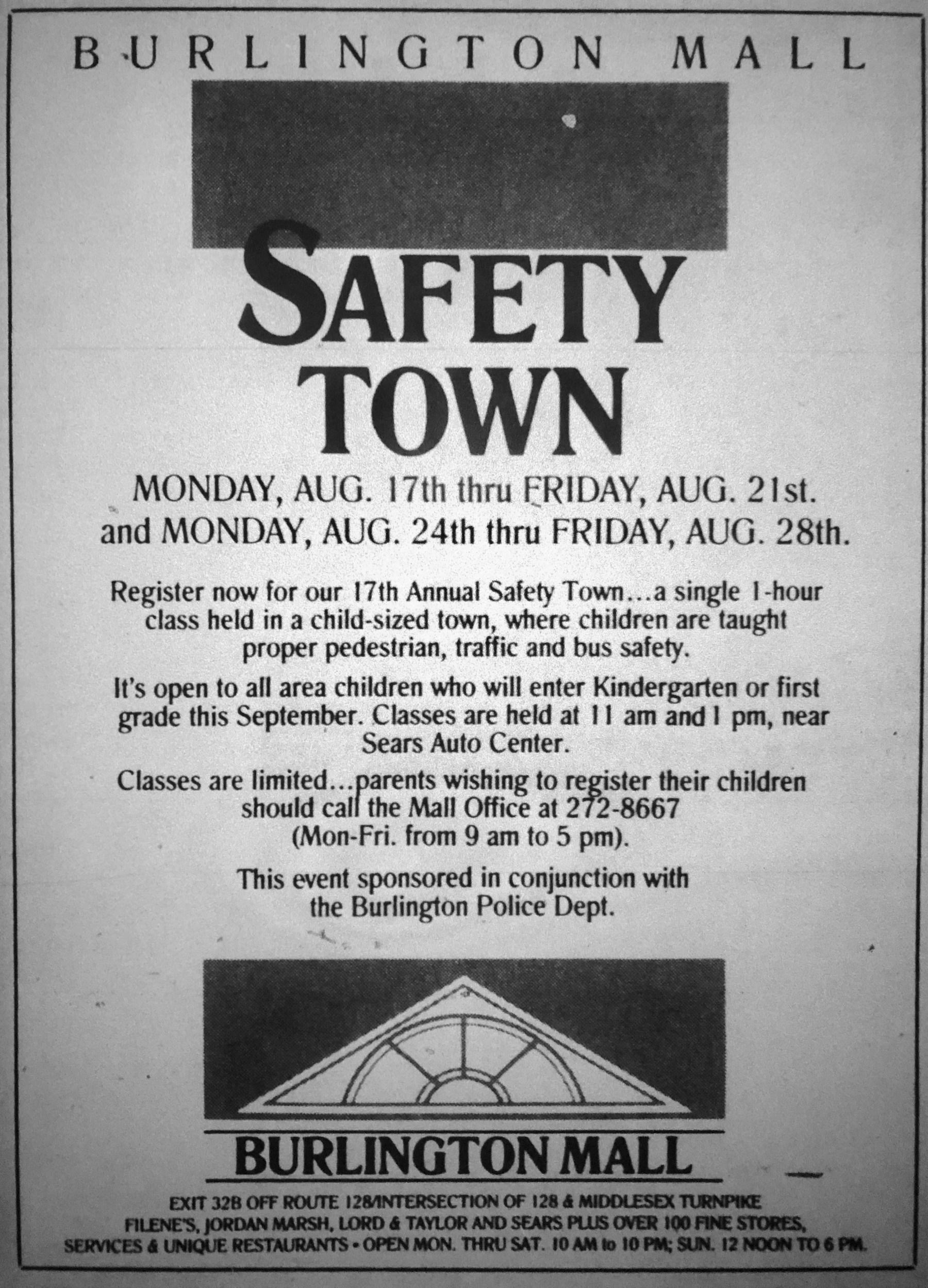 Safety Town ad, Burlington MA