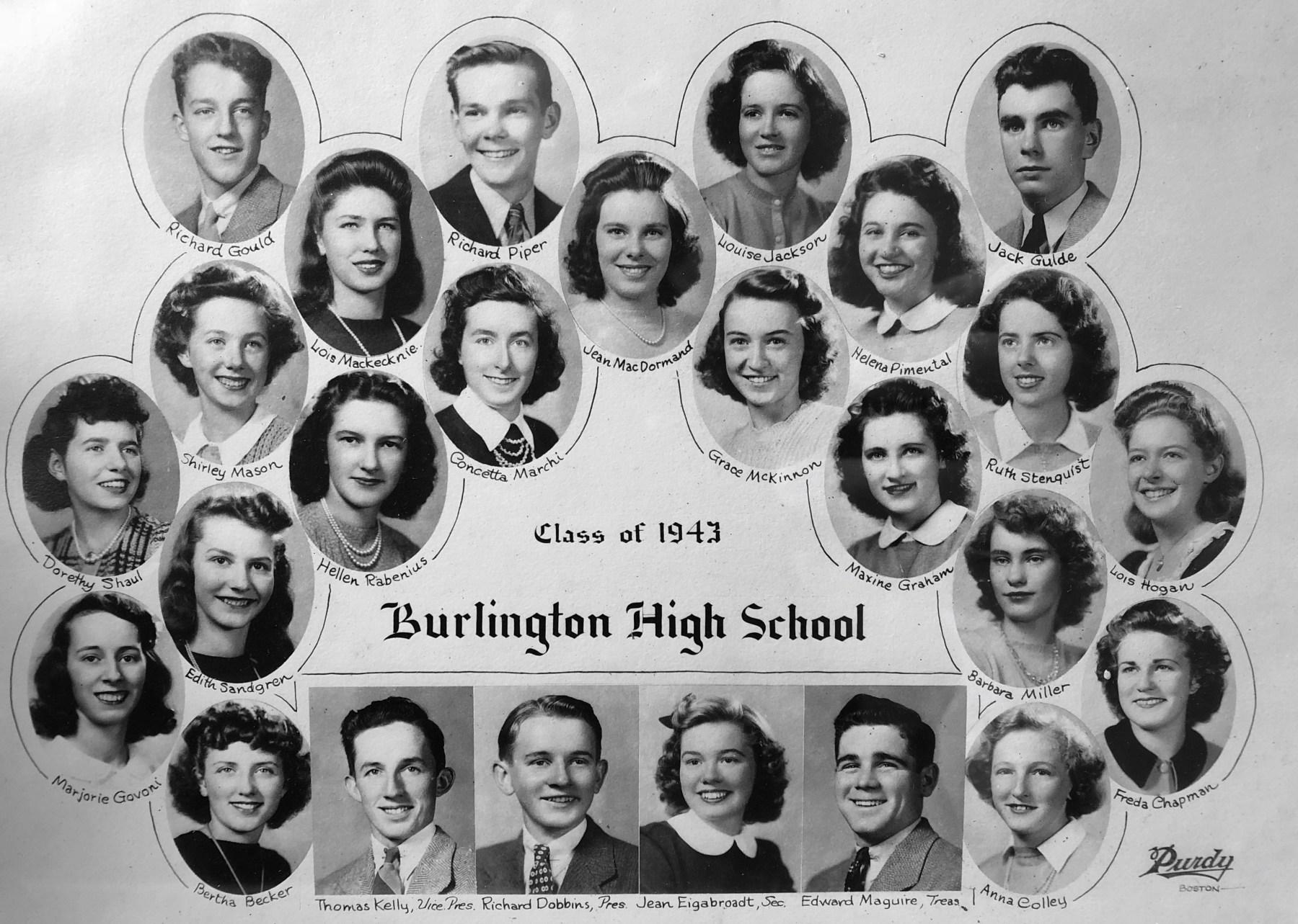 BHS class of 1943 group shot, Burlington MA