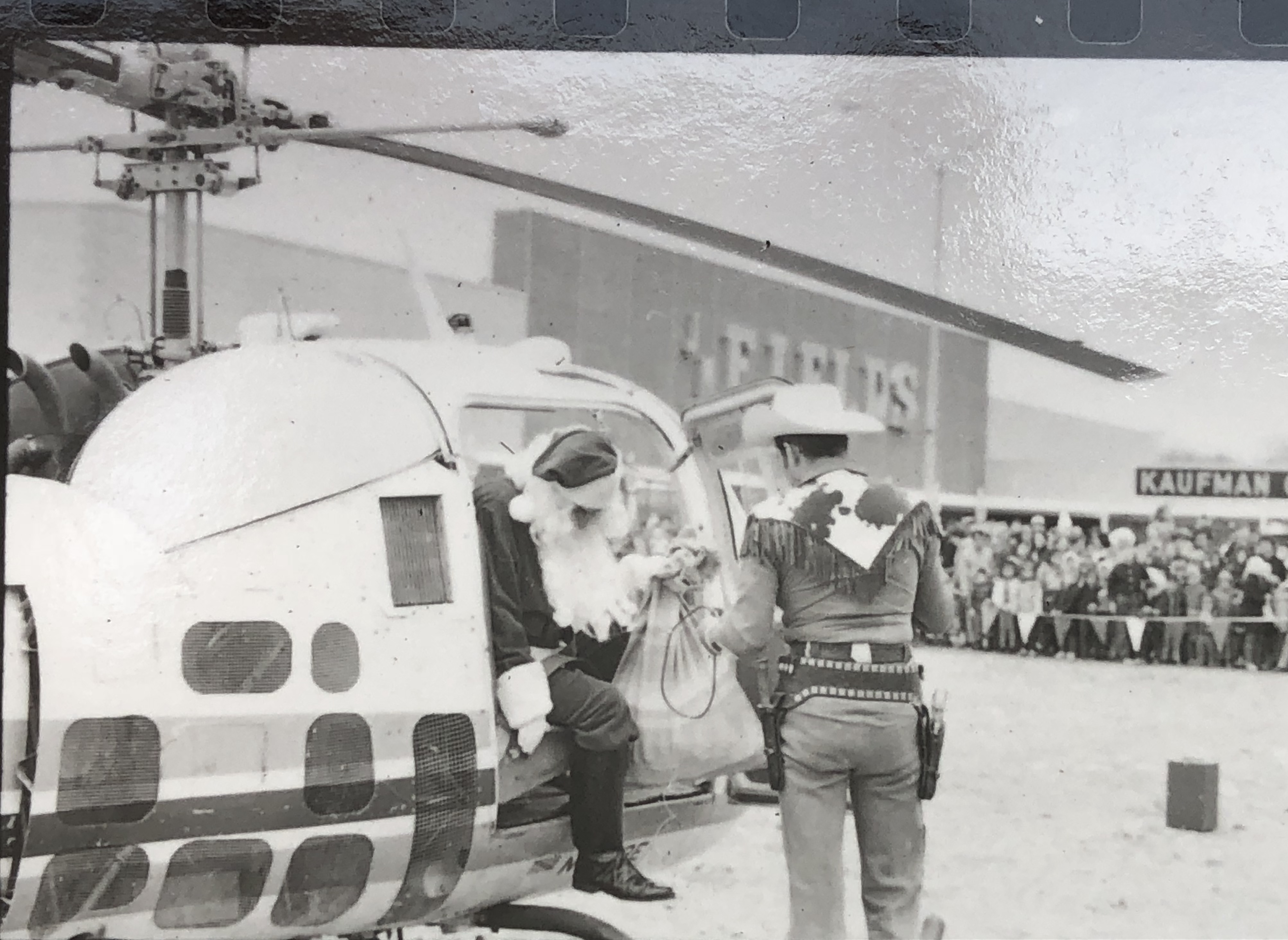 Santa emerges from chopper