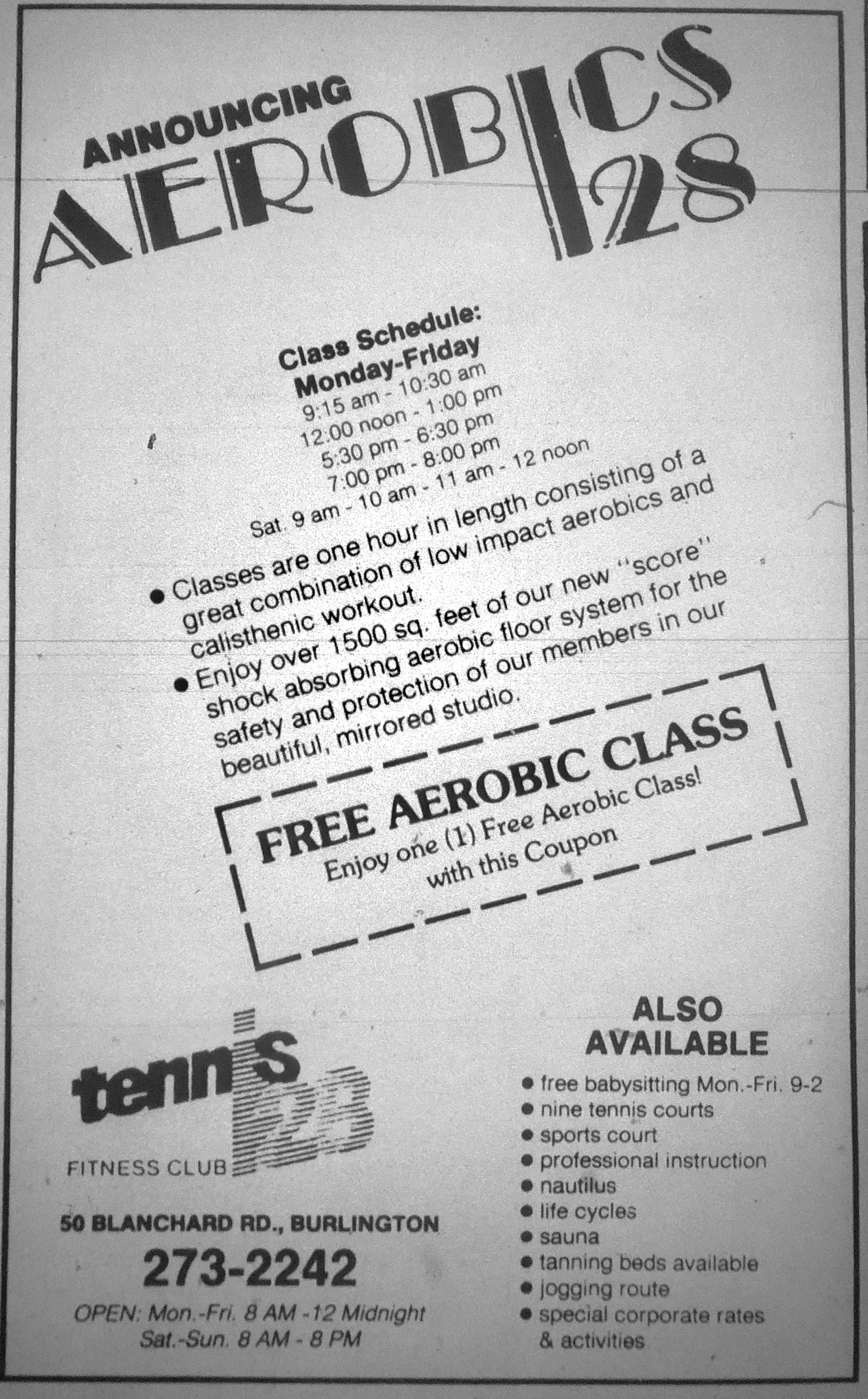 Tennis 128 aerobics, Burlington MA