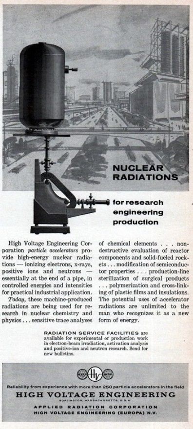 High Voltage particle accelerator ad 1961