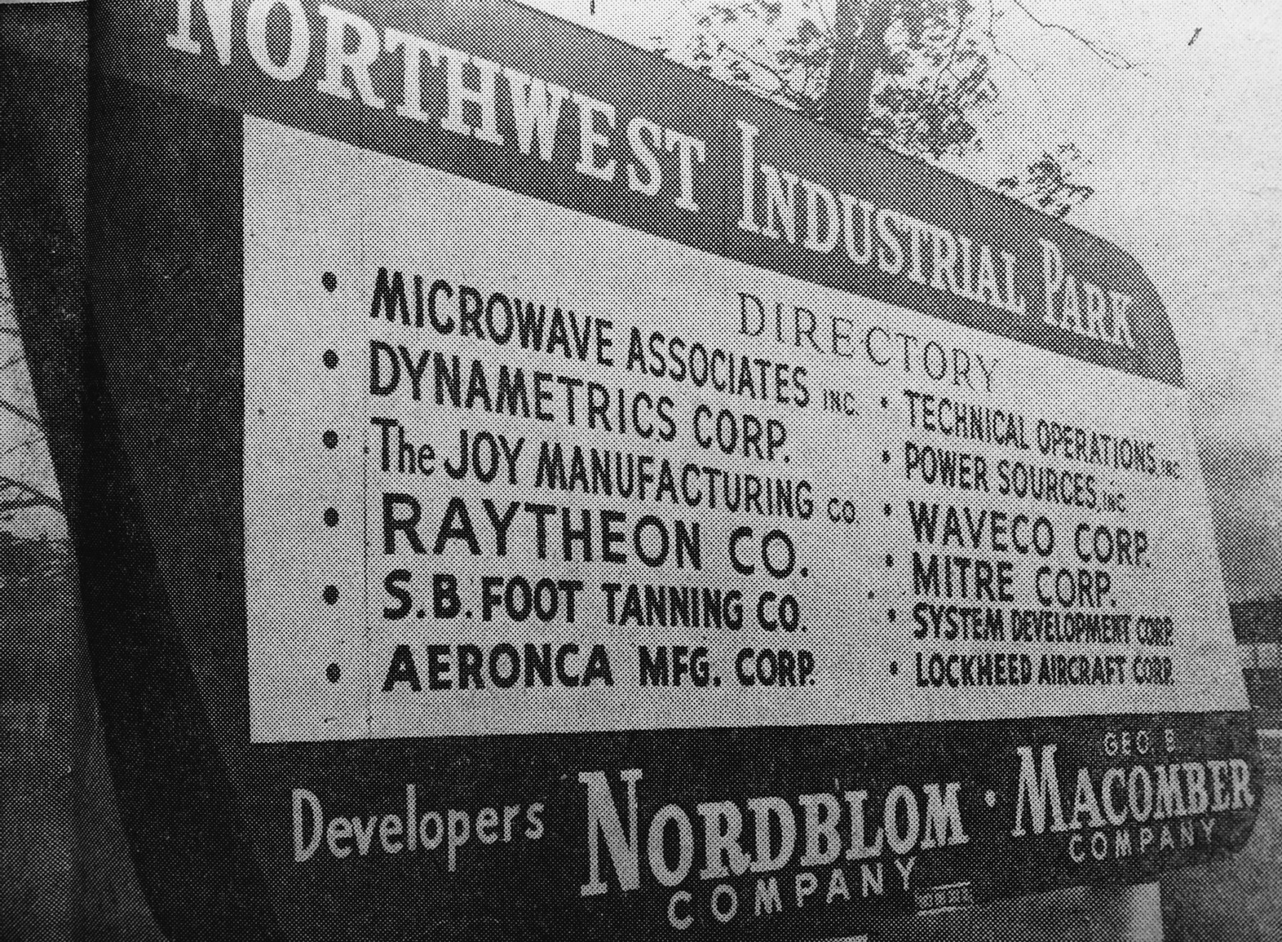 Northwest Park 1961 sign Burlington MA