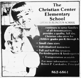 Christian Center Elementary School Burlington MA. This became Mt. Hope Christian School on Lexington St.