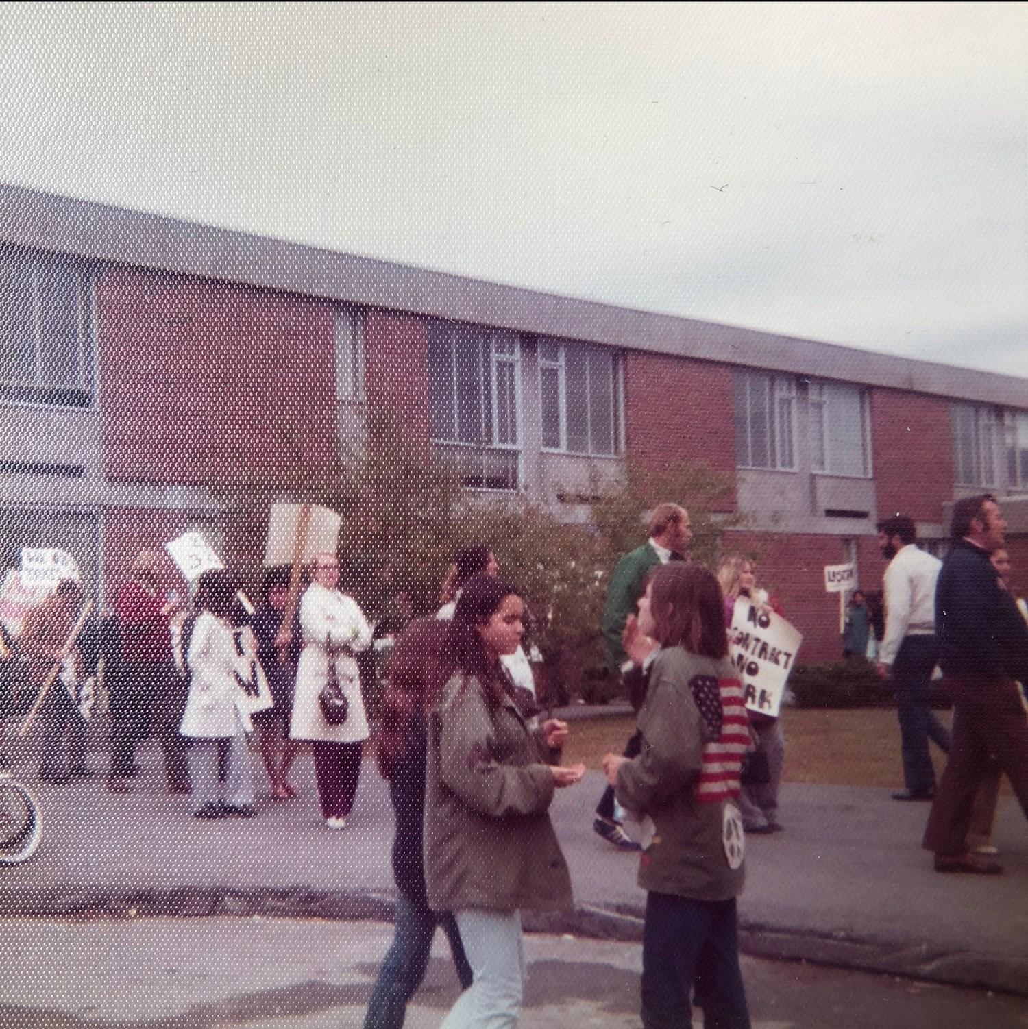 High School faculty picketing early 1970s Burlington, MA