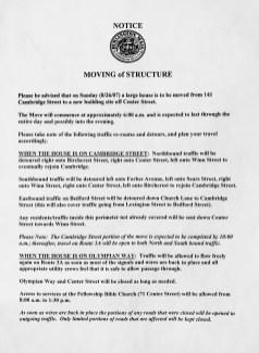 House move notice 2007 Burlington MA. Credit: Brad Cushman