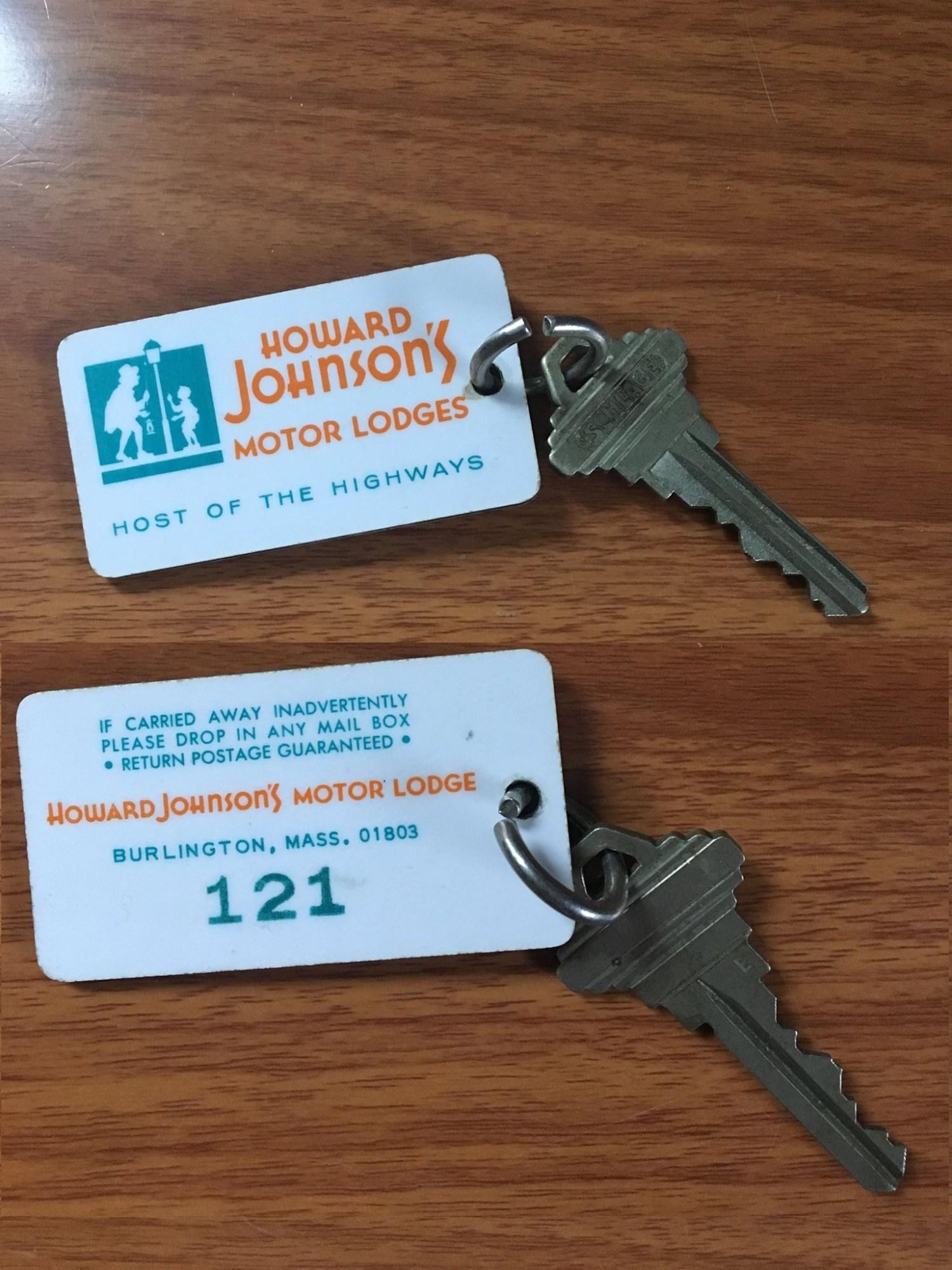 Howard Johnson's Motor Lodge keys, Burlington MA. Photo credit: Greg Purvis