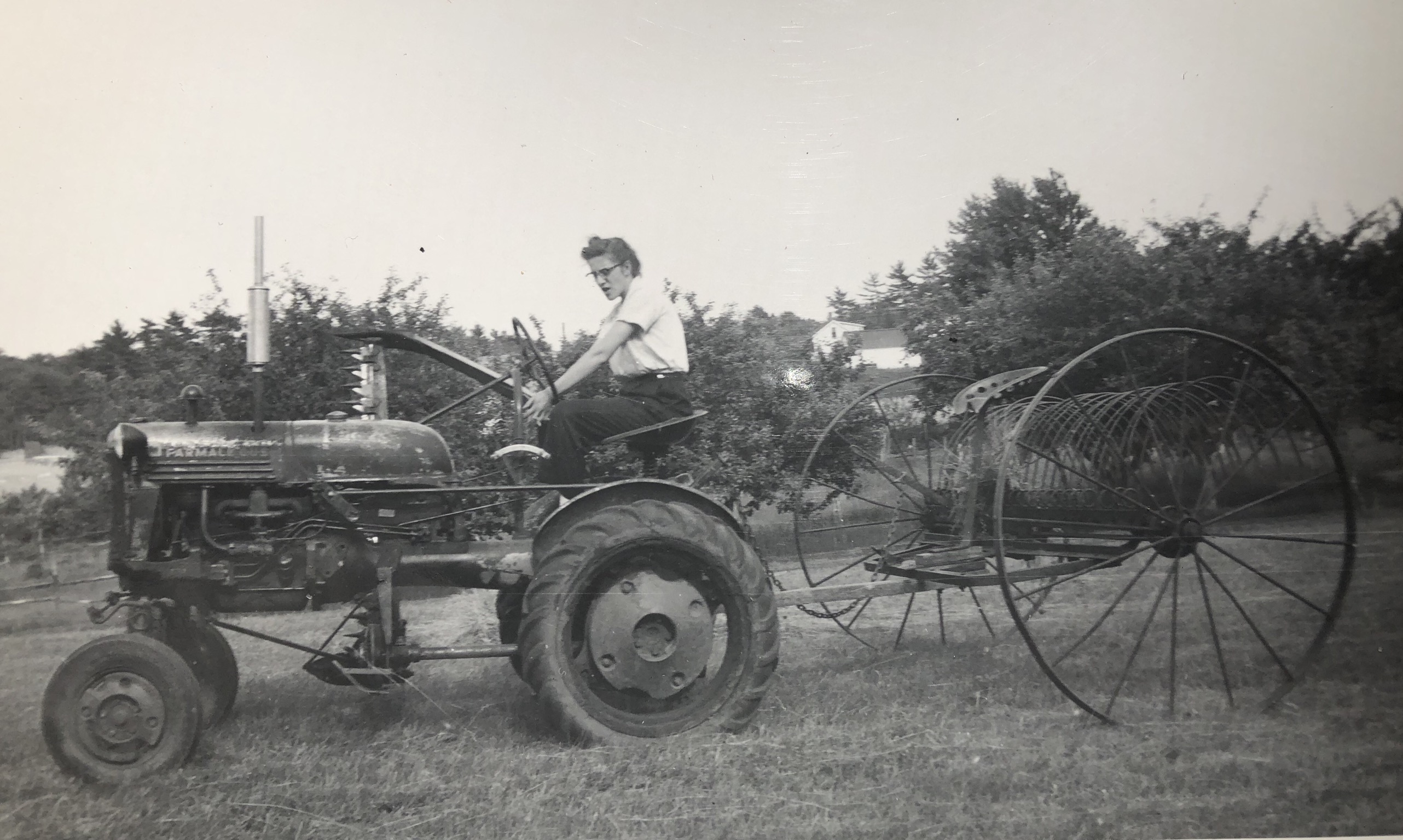 Marie Seminatore on tractor, Burlington MA