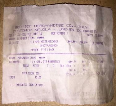 Service Merchandise receipt Burlington MA