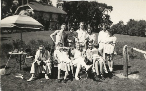 Burns family on lawn, Burlington, MA